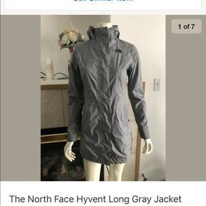 The North Face Hyvent Long Gray Jacket Women Sz XS